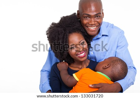 beautiful young african american family on white - stock photo