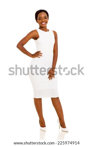 beautiful young african businesswoman isolated on white background - stock photo