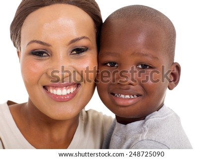 beautiful young african mother and son - stock photo