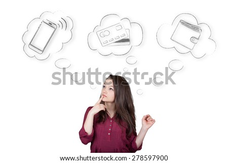 Beautiful young and pretty woman choosing a payment method between smartphone, credit or debit card and money (cash) - isolated on white background - stock photo