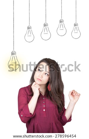 Beautiful young and pretty woman thinking (have no idea) in front of light idea bulbs concept - isolated on white background - stock photo