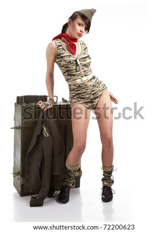 Beautiful young army pin up model - stock photo