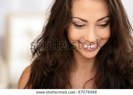 Beautiful young asian caucasian woman portrait