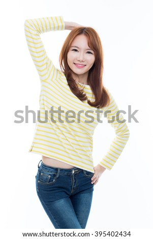 Beautiful young Asian Lady isolated on white background. - stock photo