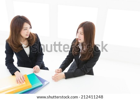 Beautiful young asian two women who have a meeting