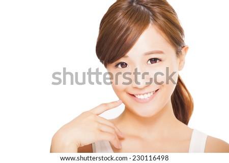 beautiful  young asian woman face - stock photo