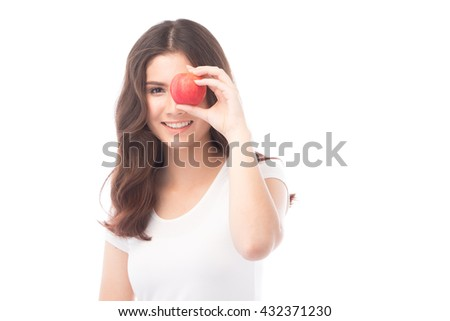 Beautiful young asian woman holding an apple, green apple, healthy eating concept, isolated on white background - stock photo
