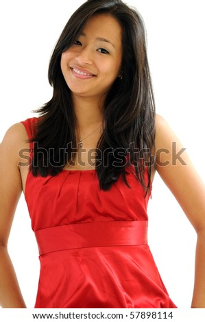 Beautiful young Asian woman in red dress - portrait
