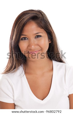 Beautiful young Asian woman portrait isolated on white background - stock photo