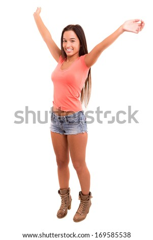 Beautiful young asian woman posing isolated over white background - stock photo