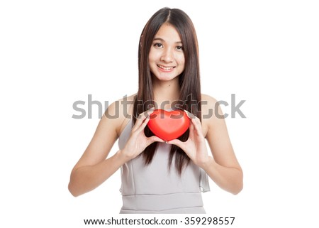 Beautiful young Asian woman smile  with red heart  isolated on white background