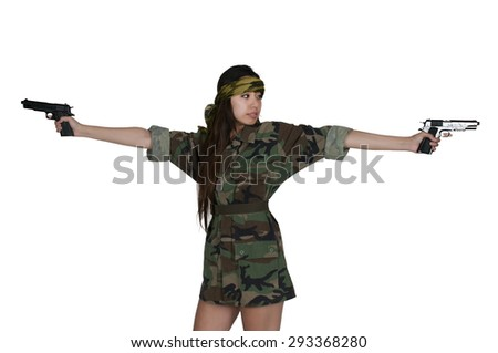 Beautiful young Asian woman soldier with a gun