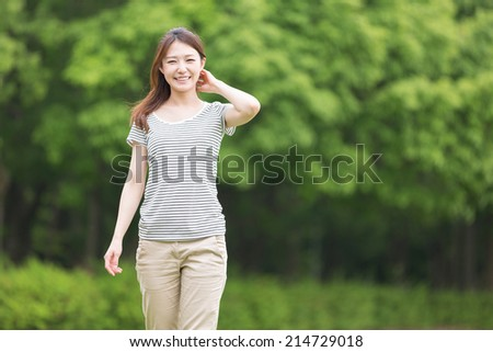 Beautiful young asian woman who smile