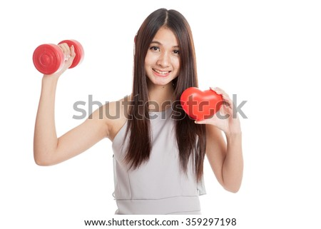 Beautiful young Asian woman with red heart and dumbbell  isolated on white background - stock photo