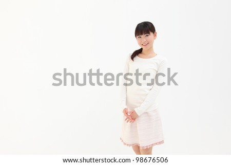 Beautiful young Asian woman with space for copy