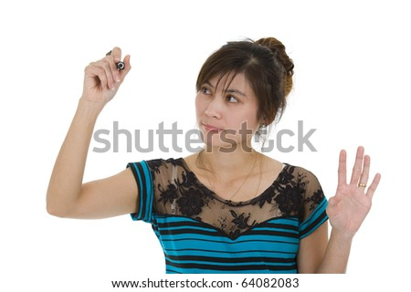 beautiful young asian woman writing whatever you want with a red marker, isolated on white background - stock photo