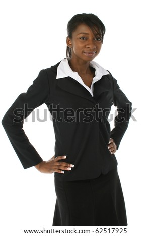 Beautiful young black african american business woman in suit over white background.