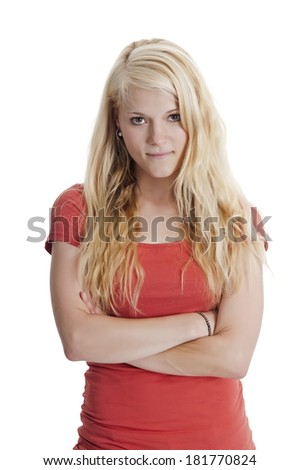 beautiful young blond woman against white background - stock photo