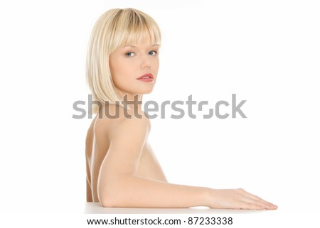 Beautiful young blond woman , concept of spa, beauty, wellness salon,bath