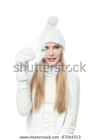 beautiful young blond woman in warm clothing isolated  on white