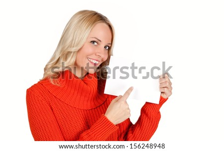 Beautiful young blond woman showing blank paper isolated on white background