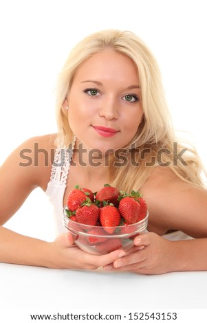 beautiful young blond woman with strawberry