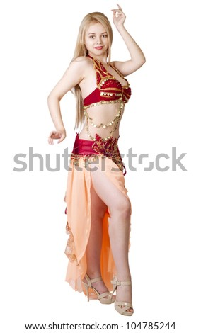 beautiful young blonde - Arab Dancer, in great costume over white