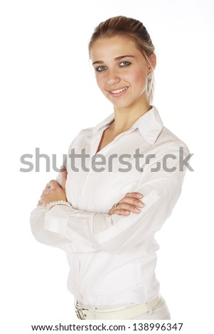 Beautiful young blonde caucasian woman wearing all white and with her hair in a ponytail - On a white background
