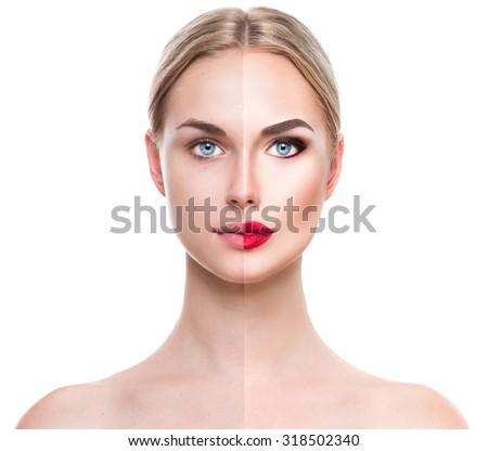 Beautiful young blonde woman before and after make-up applying. Comparison portrait. Two parts of model girl face- with and without makeup. Face divided in two parts, with bright make up and natural - stock photo