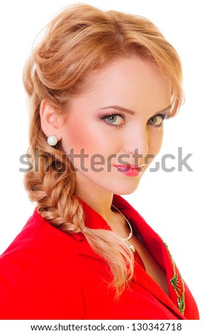 beautiful young blonde woman. fashion hairstyle. close-up portrait on white background - stock photo