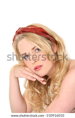 Beautiful young blonde woman n a red headscarf