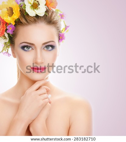 beautiful, young blonde woman on a pink background with bright makeup, beauty concept - stock photo