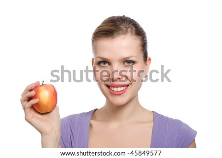 beautiful young blonde woman with a red apple