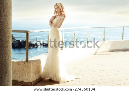 Beautiful young bride - stock photo