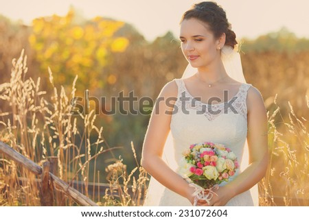 beautiful young bride in a wedding dress - stock photo
