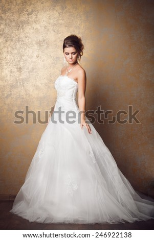 Beautiful young bride in wedding dress - stock photo