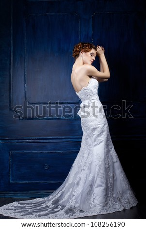 beautiful young bride on a blue background - stock photo