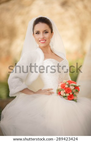 Beautiful young Bride portrait outdoor wedding woman in white dress, smiling female with marriage flowers bouquet outdoors, happy bride smiling portrait, soft focus, series.