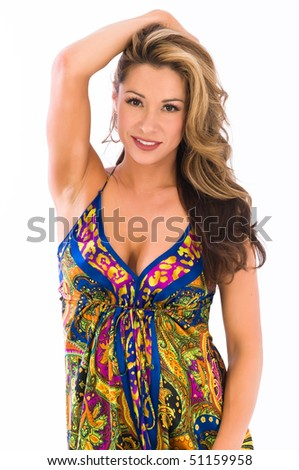 Beautiful young brown haired girl in a long paisley dress
