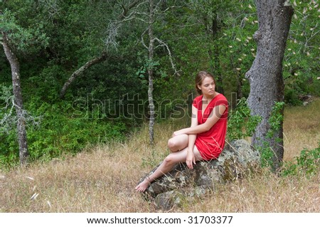 Beautiful young brown haired woman in the woods, Mt. Diablo State Park, Clayton, California