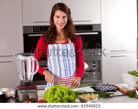 Beautiful young brunette in the kitchen preparing dinner - stock photo