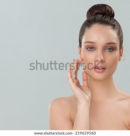Beautiful young brunette posing. - stock photo