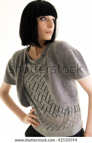 Beautiful young brunette woman business style - stock photo