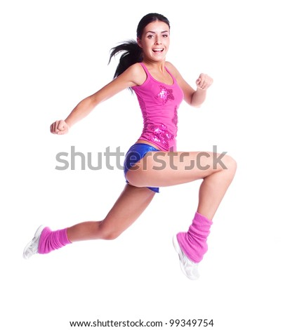 beautiful young brunette woman wearing sports clothes, isolated against white background - stock photo