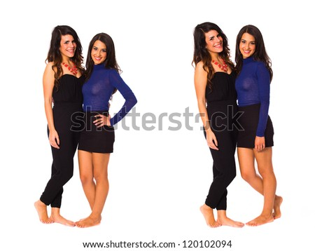 Beautiful young brunette women on a white background. - stock photo