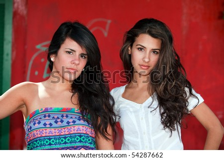 Beautiful Young Brunettes in a Fashion Pose