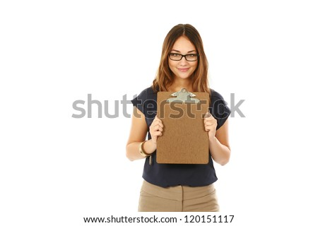 beautiful young business woman holding a clipboard isolated on white