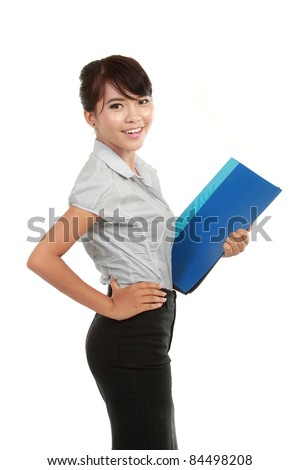 beautiful young business woman holding a report isolated on white