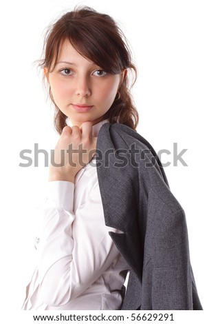 beautiful young business woman in suit isolated background