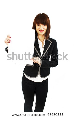 Beautiful young business woman is holding blank whiteboard sign. Isolated on white background.
